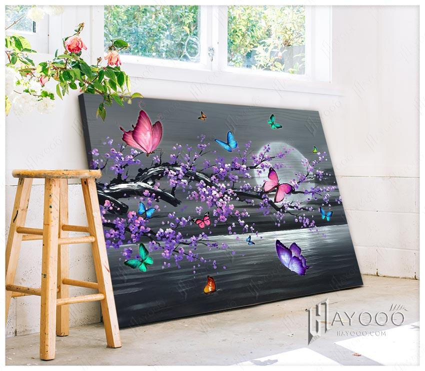 HAYOOO Beautiful Gift For Butterfly Lovers Purple Tree With Butterflies Canvas Print Wall Art Decor