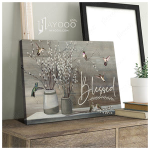 Hayooo Blessed Hummingbird And Pussy Willow Canvas Wall Art Decor
