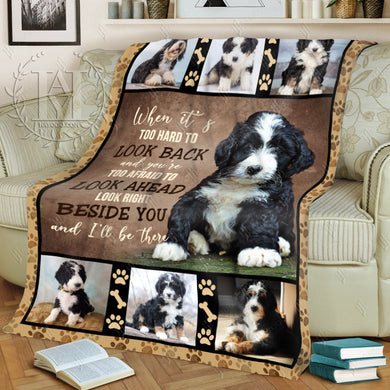 Hayooo Fleece Blanket Berniedoodle Dog Beside You