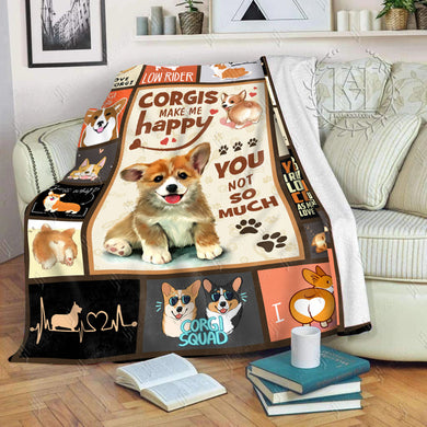 Hayooo Fleece Blanket Corgi Corgis Make Me Happy