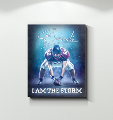 Football - Canvas - Custom Name And Number - I Am The Storm
