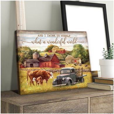Hayooo Wonderful World Cow Canvas Wall Art Decor