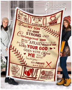 Hayooo Baseball Blanket Best Gift For Son Be Strong And Courageous