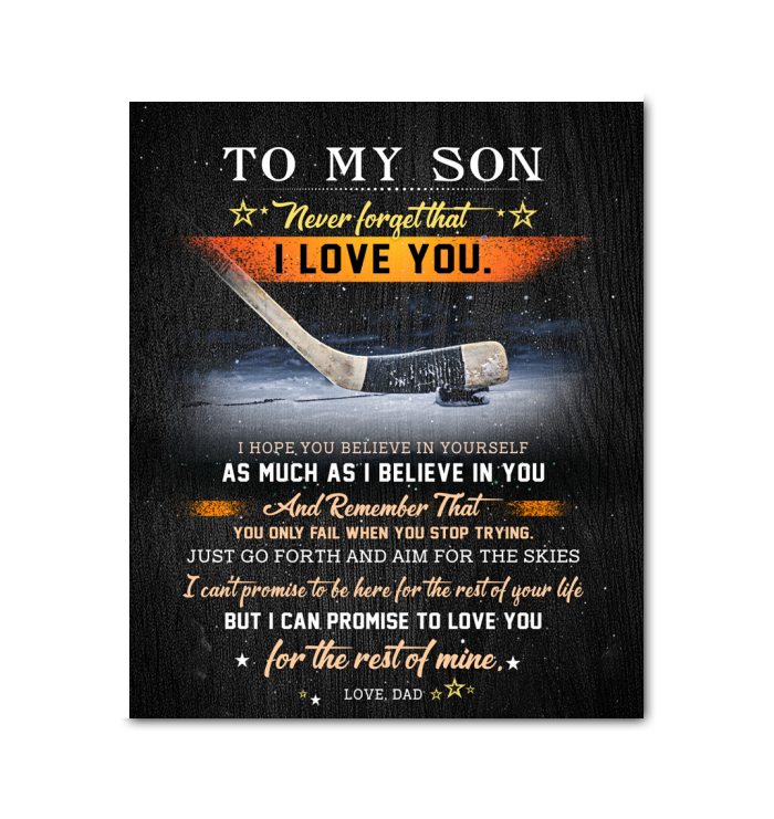 Hockey Canvas To My Son (Dad) Believe In Yourself - Hayooo Shop