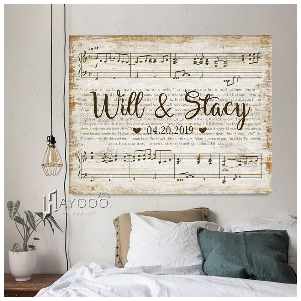 Hayooo Custom Wedding Names & Date & Song Lyrics Canvas Print Wall Art