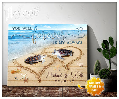 Hayooo Custom Name Forever By My Always Turtles  Personalised Canvas Wall Art Decor