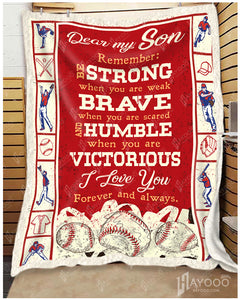 Hayooo Baseball Blanket Best Gift For Your Son Strong Brave Humble Victorious