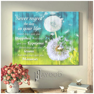 HAYOOO Top Beautiful Dandelion Canvas Never Regret The Day In Your Life Wall Art Decor