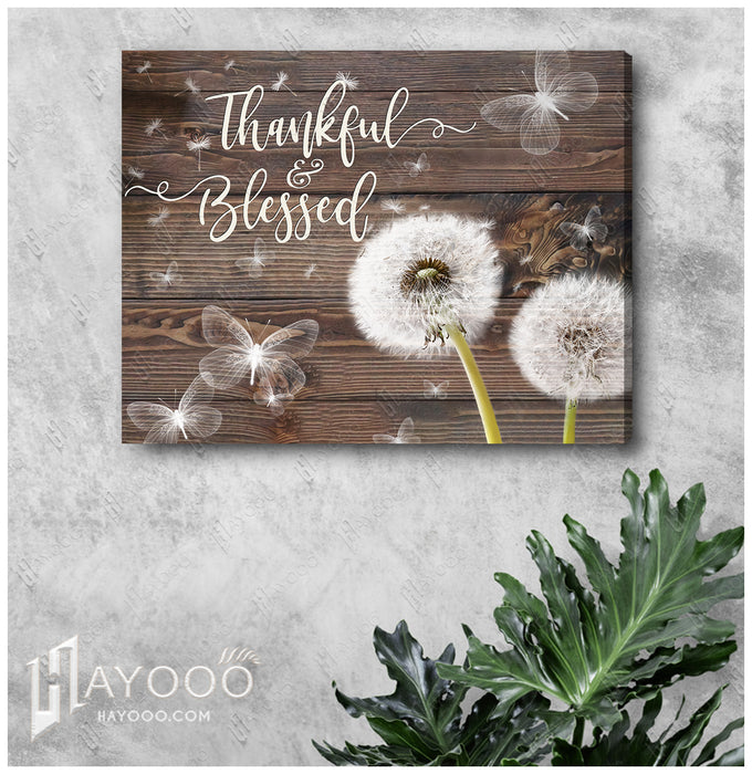 HAYOOO Beautiful Dandelion With Butterfly Rustic Wood Canvas Wall Art Home Decor Thankful And Blessed