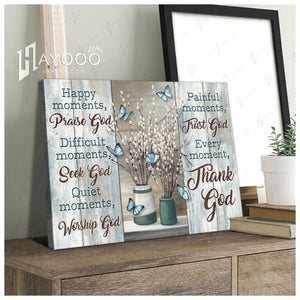 Hayooo Top Beautiful Butterflies And Pussy Willows Canvas Happy Momment Praise God Wall Art For Farmhouse Decor
