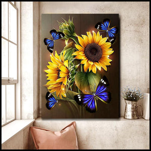 Hayooo Sunflower Butterfly Wall Art Canvas
