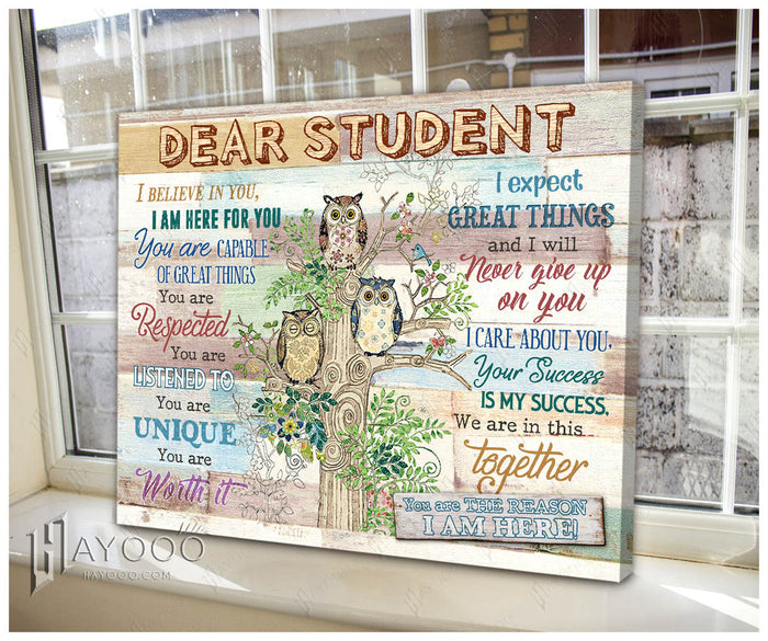 HAYOOO Dear Student Owl Canvas Wall Art Decor