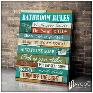 Hayooo Best Bathroom Rules Bathroom Canvas Wall Art Decor