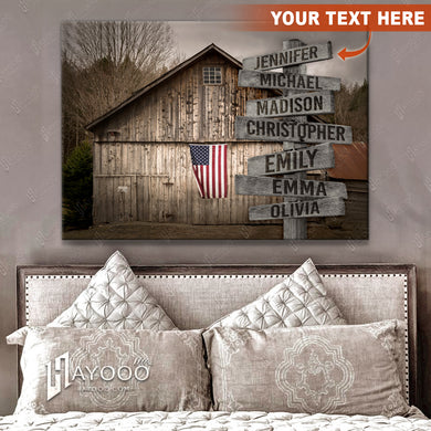 HAYOOO Personalised Farmhouse Canvas Custom Family Member Names On Street Sign Wall Art Decor