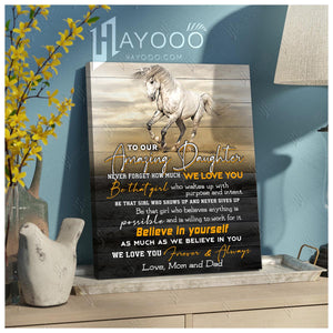 HAYOOO To our amazing daughter Believe in yourself horse canvas wall art decor