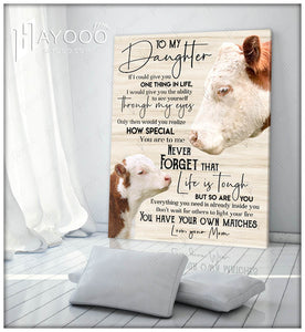 Hayooo Top 10 Best Birthday Gifts For Your Daughter Cow Canvas Life Is Tough But So Are You Wall Art Decor