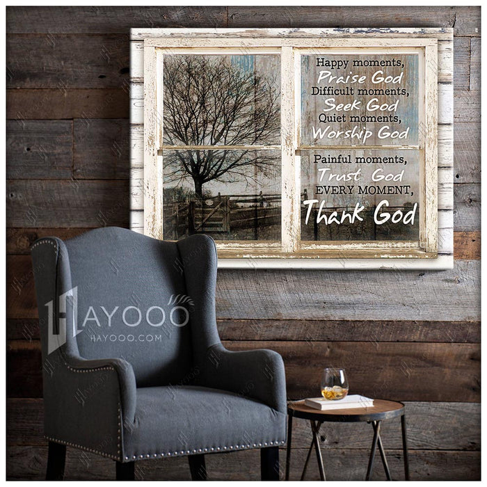 HAYOOO Top 10 Beauftiful Fake Rustic Windows Canvases Happy Moments Praise God Wall Art Decor