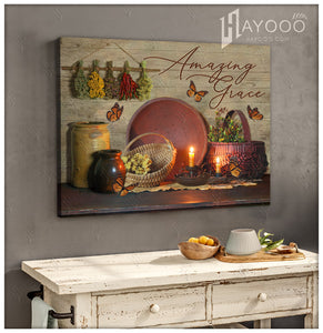 Hayooo Farmhouse Amazing Grace Butterfly Canvas Wall Art Decor