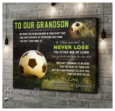 HAYOOO Top 10 Best gifts for your grandson Canvas To our grandson Just go forth and aim for the skies Soccer Wall Art Decor