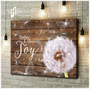 HAYOOO Beautiful Dandelion With Butterfly Rustic Wood Canvas Wall Art Home Decor Today I Choose Joy