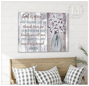 Hayooo Beautiful Cotton Flowers Canvas God Is Great Wall Art For Farmhouse Decor