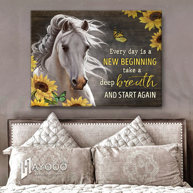 Hayooo Awesome White Horse And Sunflowers Canvas Every Day Is A New Beginning Wall Art Decor