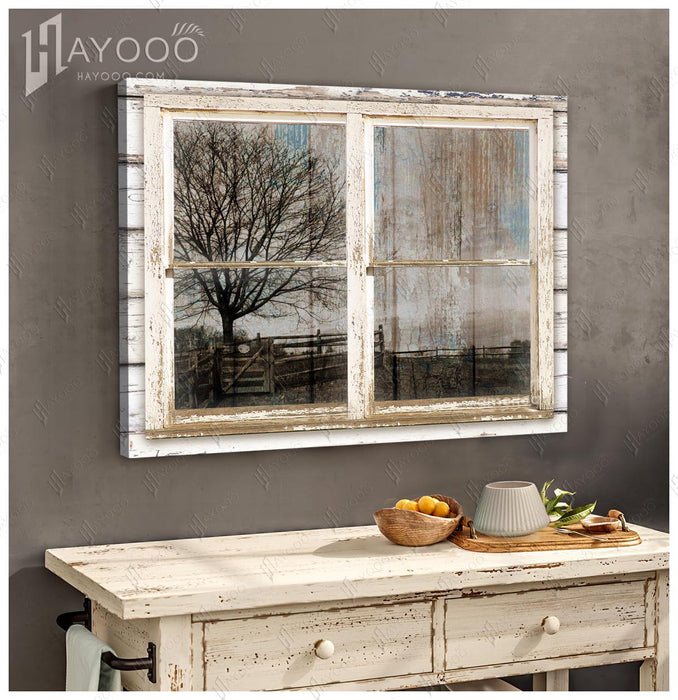 HAYOOO Top 10 Beautiful Fake Rustic Window For Farmhouse Canvas Wall Art Decor