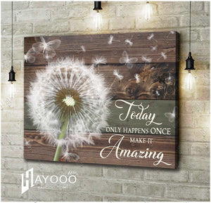 HAYOOO Beautiful Butterfly Dandelion Rustic Wood Canvas Wall Art Home Decor Today Only Happens Once Make It Amazing