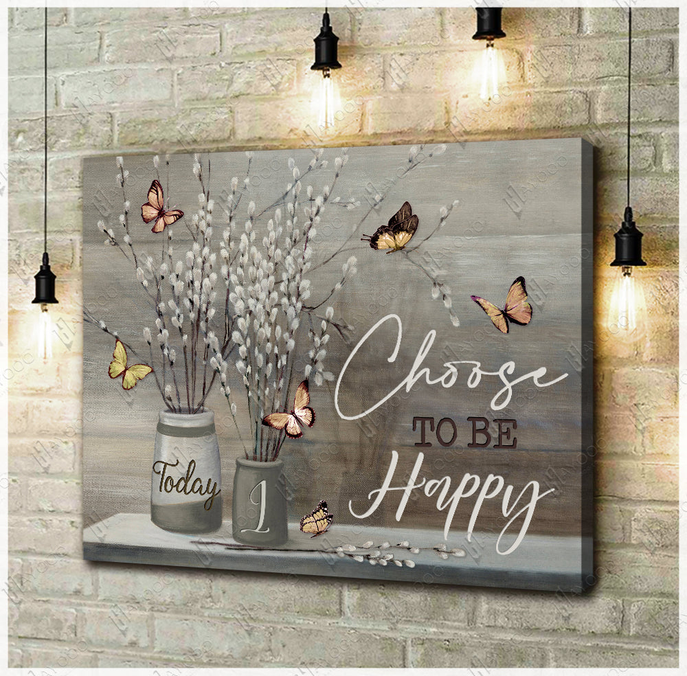 Hayooo Today I Choose To Be Happy Butterfly Canvas Wall Art Decor Au