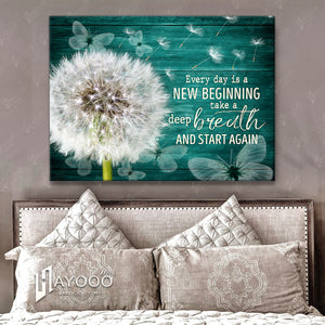 HAYOOO Top 10 Beautiful Dandelion With Butterflies Canvases Every Day Is A New Beginning Wall Art In Teal For Farmhouse Decor