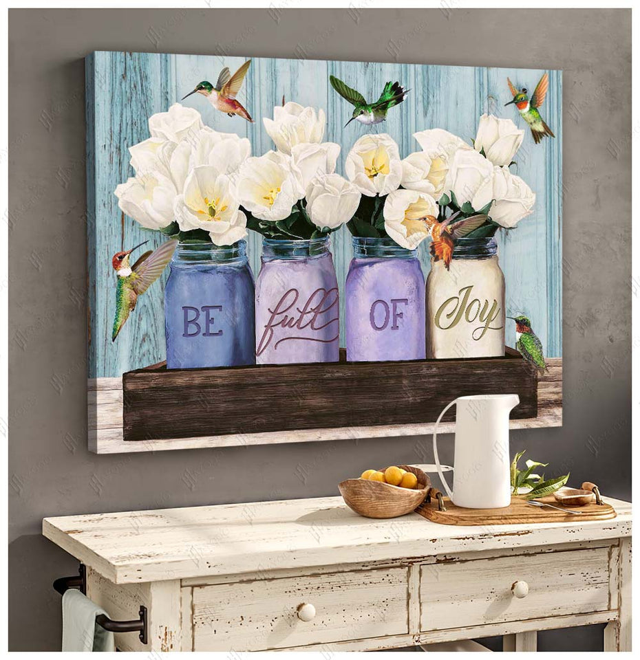 Hayooo Be Full Of Joy Hummingbird And Tulip Flower Canvas Wall Art Decor