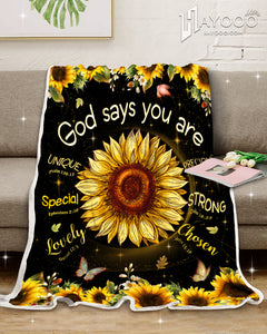 Hayooo Best Gifts Idea For Everyone God Says You Are Sunflower And Butterfly Blanket