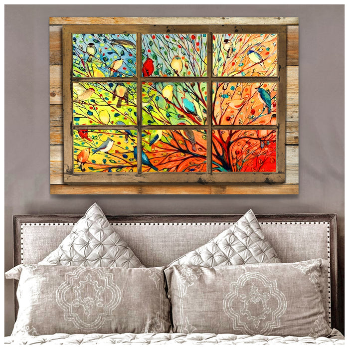 HAYOOO Colorful bird window canvas wall art decor