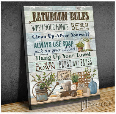 Hayooo Bathroom Rules Vintage Farmhouse Canvas Wall Art Decor