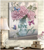 Hayooo Live Simply Cotton Flower & Butterfly Canvas Wall Art Decor