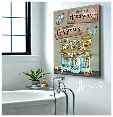 Hayooo Beautiful Bathroom With Cotton Flower Canvas Relax Soak Unwind