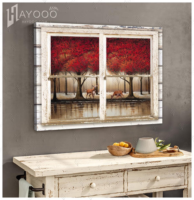 HAYOOO Top Beautiful Forest With Deers And Red Tree Through Rustic Window Wall Art For Living Room Decor