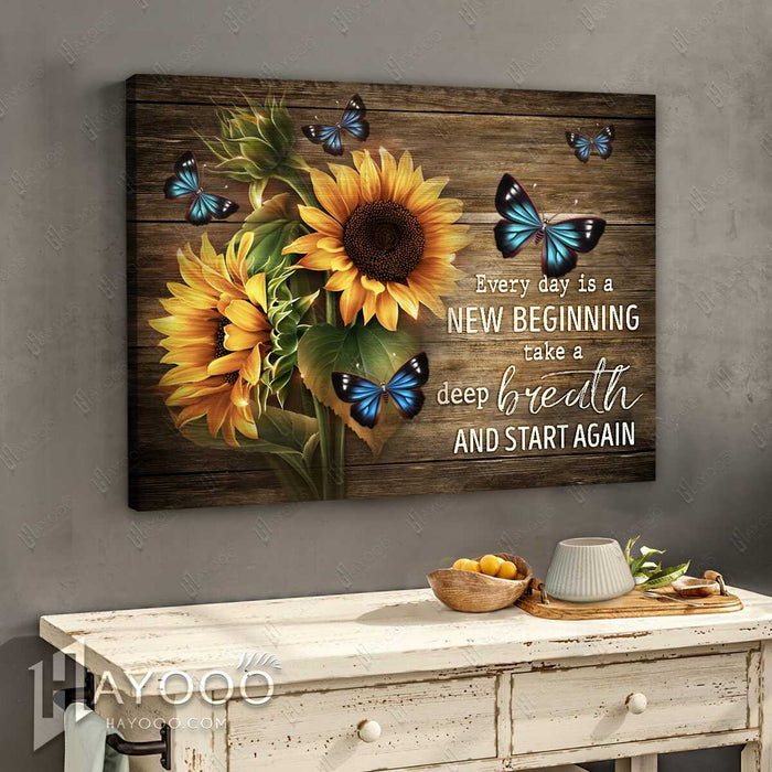 Hayooo Canvas Best Gift For Sunflowers And Butterflies Lovers On Rustic Wood Canvas Every Day Is A New Beginning Wall Art For Farmhouse Decor