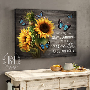 Hayooo Best Gift For Sunflowers And Butterflies Lovers On Gray Rustic Wood Canvas Every Day Is A New Beginning Wall Art For Farmhouse Decor