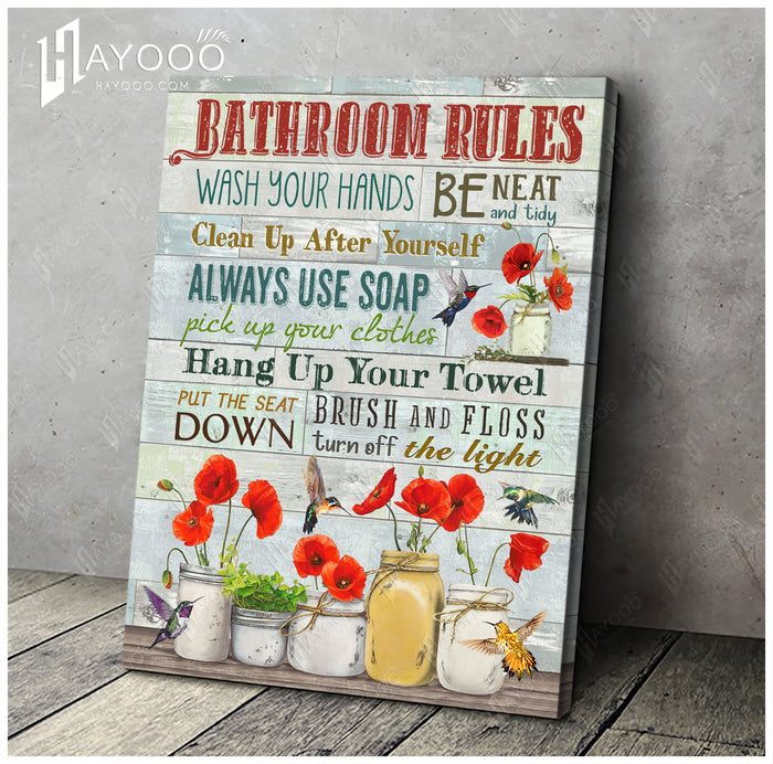 HAYOOO Beautiful Bathroom Rules Canvas With Hummingbird And Poppy Flower Wall Art For Bathroom Decor