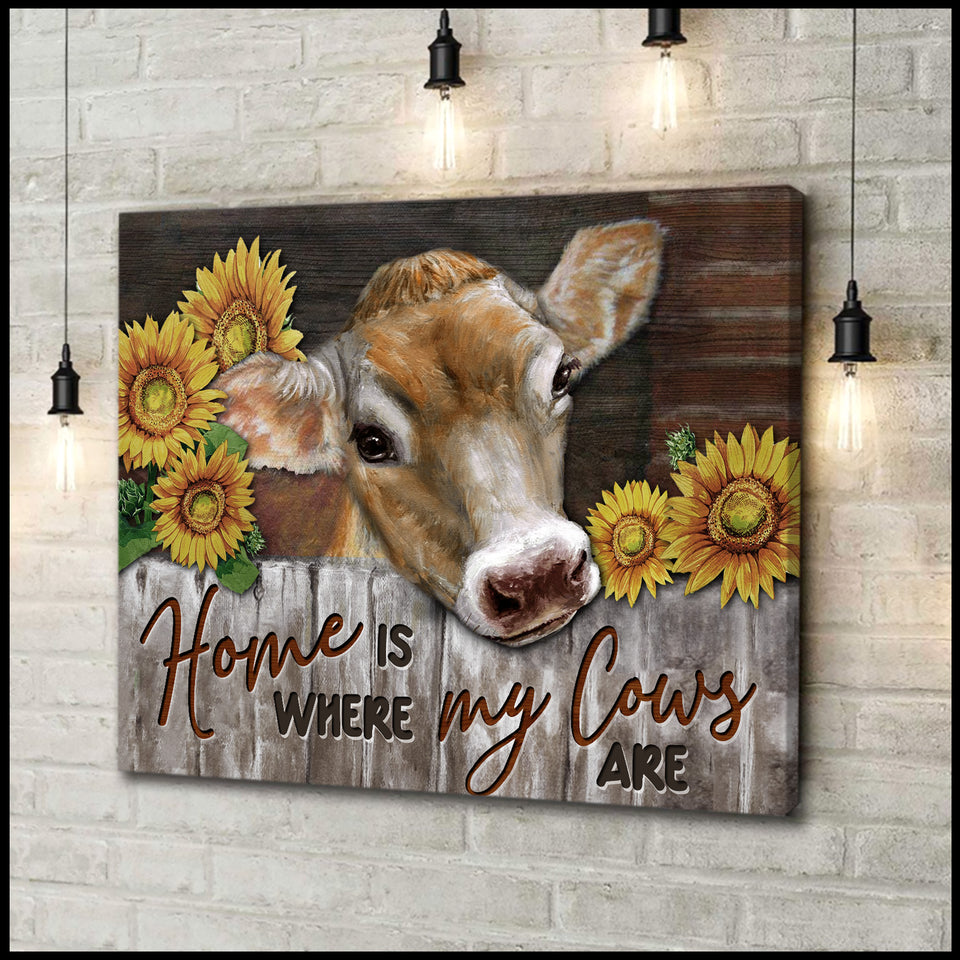 Canvas Cow Home Is Where My Cows Are