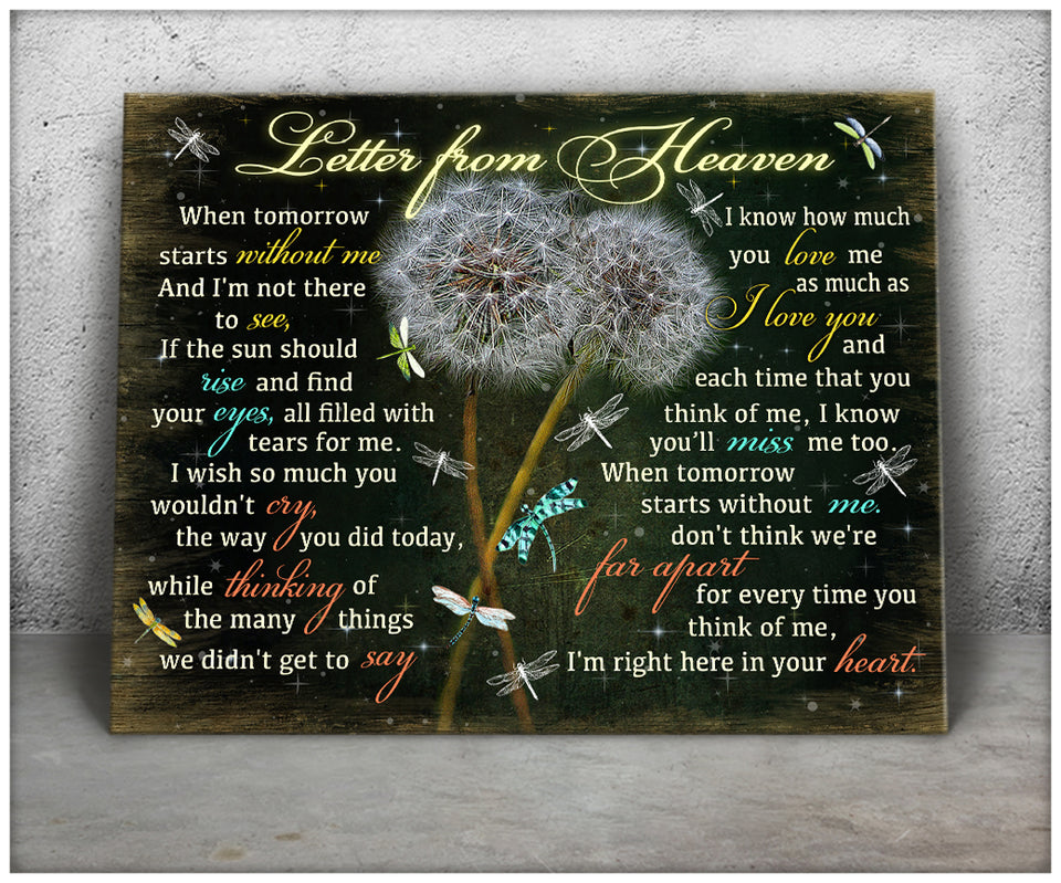 Canvas Dandelion & Dragonfly Letter From Heaven