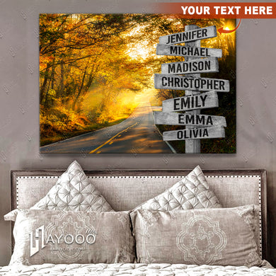 HAYOOO Personalised Street Sign Canvas Custom Family Member Names On Street Sign Wall Art Decor