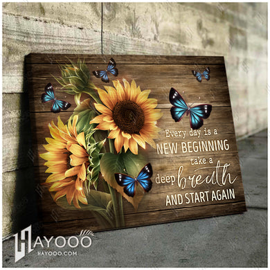 Hayooo Beautiful Sunflower And Butterfly Canvas Every Day Is A New Beginning Wall Art For Farmhouse Decor