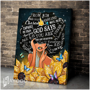 Hayooo Top Beautiful Black Woman Canvases God Says You Are Wall Art Decor