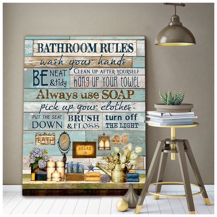 Hayooo Bathroom Rules Farmhouse Canvas Wall Art Decor