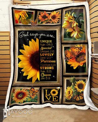 Hayooo Best Gifts Idea God Says You Are Sunflower And Butterfly Blanket