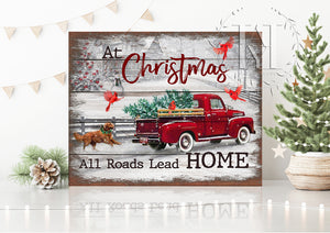 Hayooo Top Beautiful Cardinal Red Truck On Christmas Canvas Wall Art Decor At Christmas All Roads Lead Home