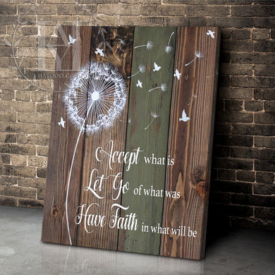 Hayooo Beautiful Dandelion Canvas Wall Art Home Decor Accept What Is Let Go Of What Was