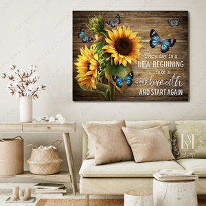 Hayooo Best Gift For Sunflowers And Butterflies Lovers On Rustic Wood Canvas Every Day Is A New Beginning Wall Art For Farmhouse Decor